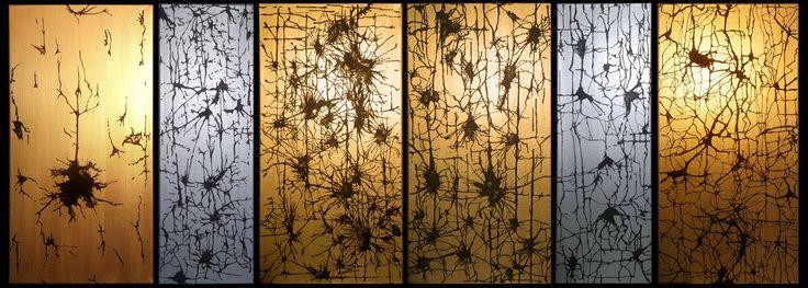 """Evolution"" (polyptique in 6 parts) • Acrylic & gilding or silver plating on canvas (acrylique & dorure ou argenture, sur toile) • 300 x 600 mm & 200 x 600 mm • 2014 • © NACT"