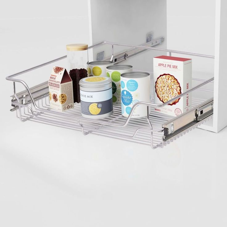 Kitchen Pull Out Basket Home Wire Set 2 Pieces Cabinet Cupboard Metal Drawers #KitchenPullOutBasket
