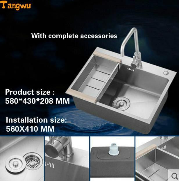 High quality 304 stainless steel kitchen sink thickening single ...