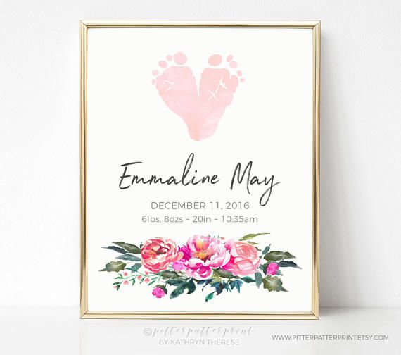 Pink & Gold Nursery Decor Floral Watercolor Art, Actual Footprints