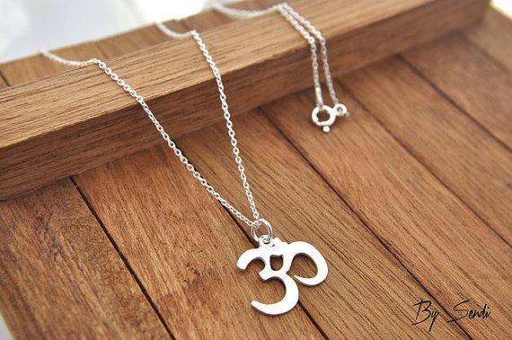 Sterling Silver Om necklace, necklace ohm, om symbol, om pendant, silver Om, Ohm…