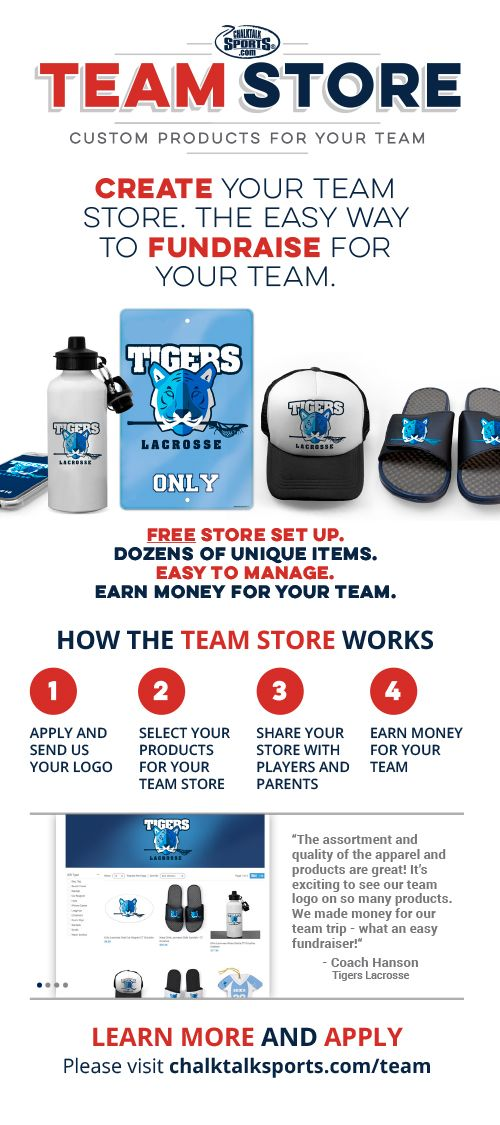 Apply for a ChalkTalkSPORTS Team Store! Your Team Logo on exclusive products that can also be personalized! No cost, no minimum order requirement and a percentage of every order goes back to your team! Click on the image for details or to apply!