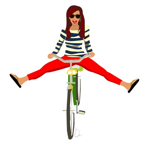 girl on a bicycle illustration - ll-creative.com