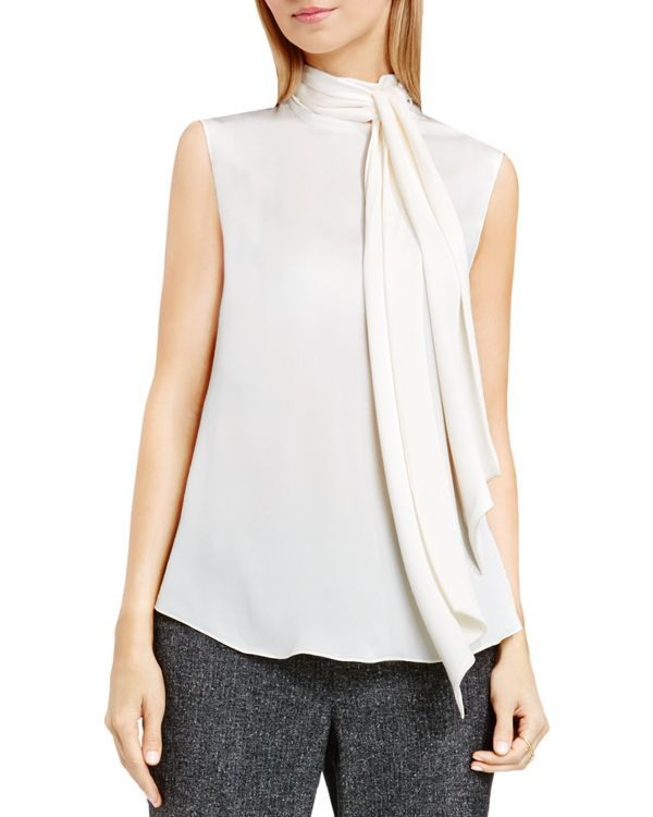Vince Camuto Tie Neck Sleeveless Blouse