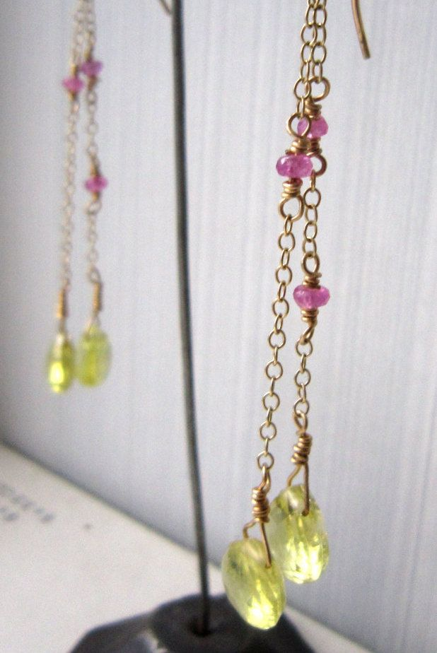 Earrings, with chains and precious stones, 9ct gold by kochiokada on Etsy