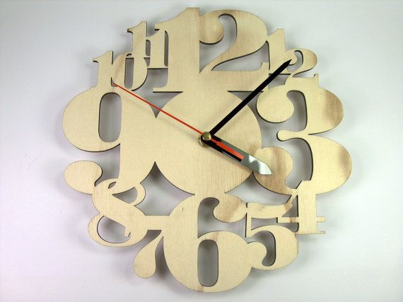 Wooden Numbers Clock by InvenioCrafts on Etsy, €24.00