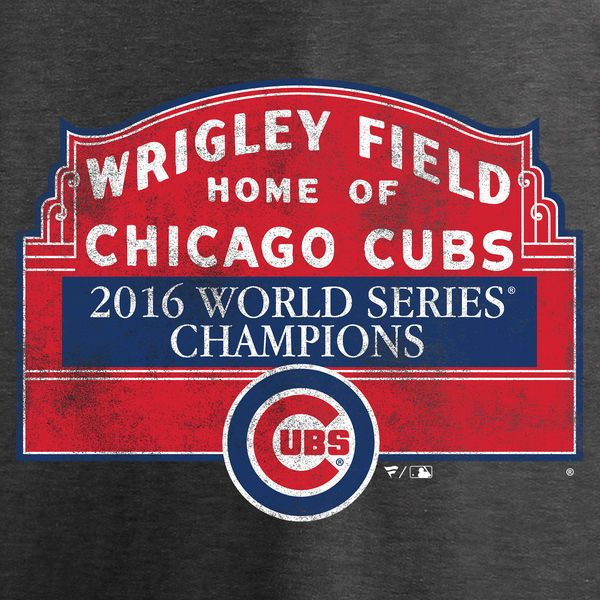 Chicago Cubs 2016 World Series Champions Sign Win T-Shirt - Heathered Gray
