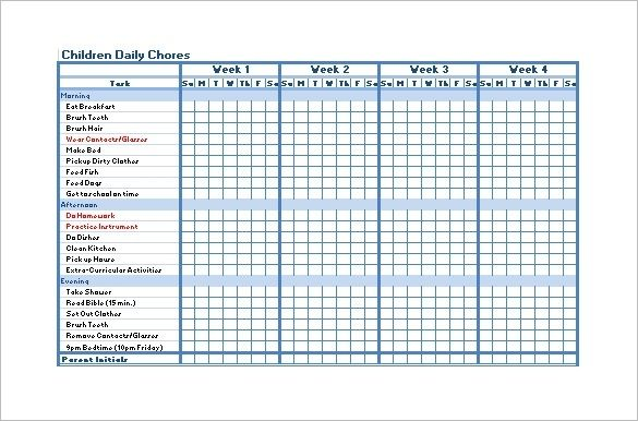 Free Printable Customizable Chore Charts Chore Chart Template