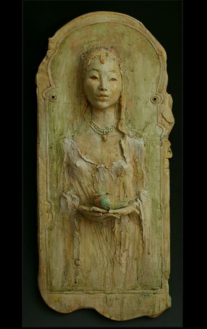 Serenity by Pat Swyler - her inspiration, the Metropolitan Museum of Art collection of Medieval, Egyptian, Renaissance and Asian sculptures is a source of inspiration.  The paintings, drawings, textiles and sculpture of the Rubin Museum have also given me much visual reference material.  Incorporating historic iconography into my personal vision of clay is a lifetime obsession.