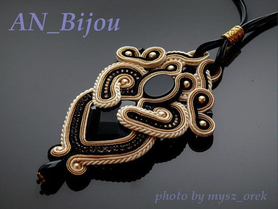 Black beige ecru pendant Soutache. by ANBijou on Etsy