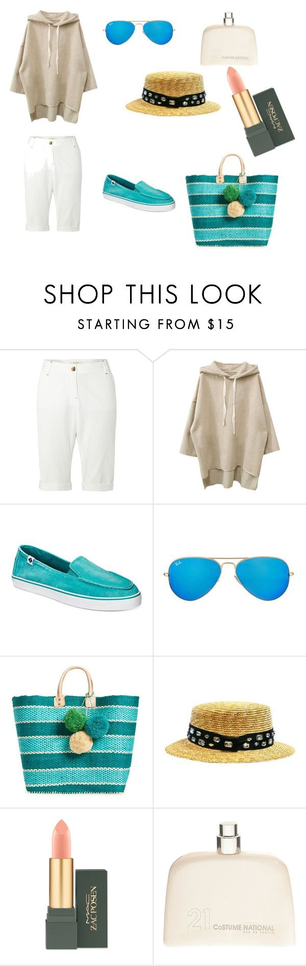 Untitled #21 by janka-dzurillova on Polyvore featuring White Stuff, Sperry, Mar y Sol, Ray-Ban, COSTUME NATIONAL and MAC Cosmetics
