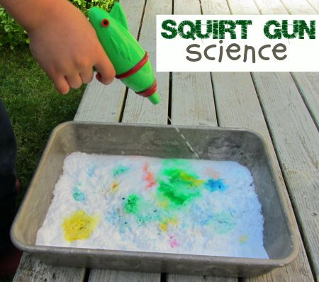 What kid won't love this? Squirt guns and baking soda volcanoes all in one fun science activity!Squirt Guns, Easy Science Experiments Kids, Food Colors, For Kids, Science Activities, Food Coloring, Baking Sodas, Guns Science, Fun Science