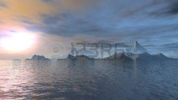 3D визуализации фантазии океана сцены иллюстрации на закате фото