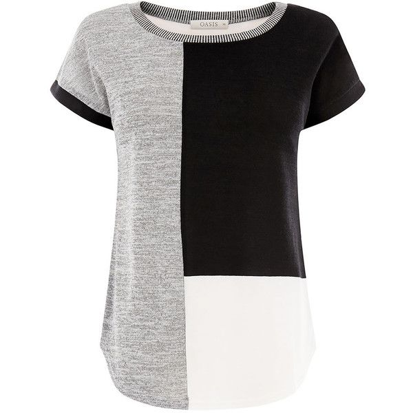 COLOURBLOCK PATCHED TEE (2565 SYP) ❤ liked on Polyvore featuring tops, t-shirts, color block tee, loose tops, metallic tee, color block t shirt and colorblock top