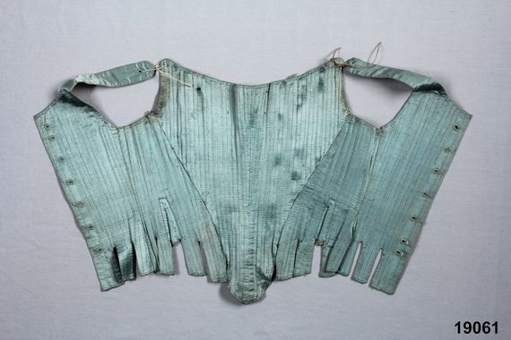 Digitalt Museum - Snörliv. Undated silk stays, but clearly 18th Century.