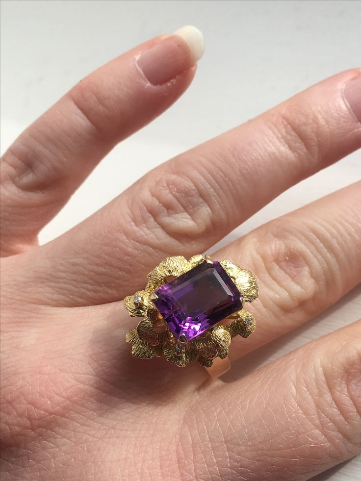 Vintage amethyst and diamond modernist gold cocktail ring