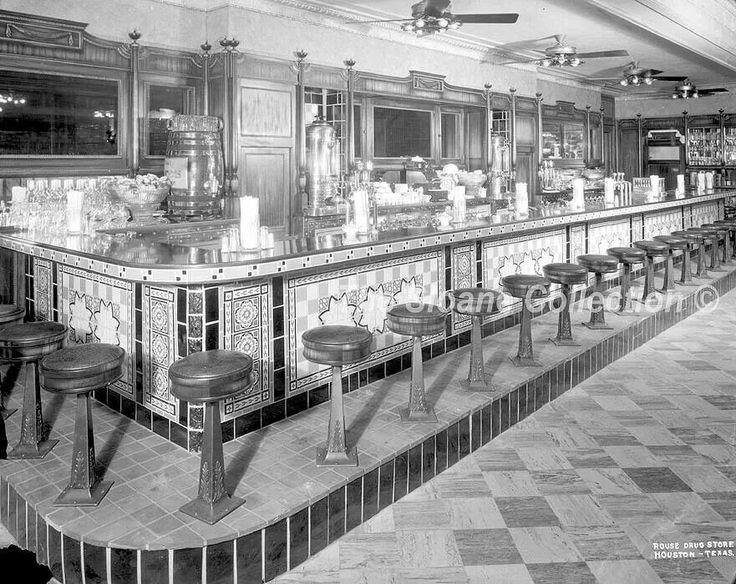 Rouse Drugs Soda Fountain & Ice Cream Parlor, Houston Texas, 1920's- 1930's