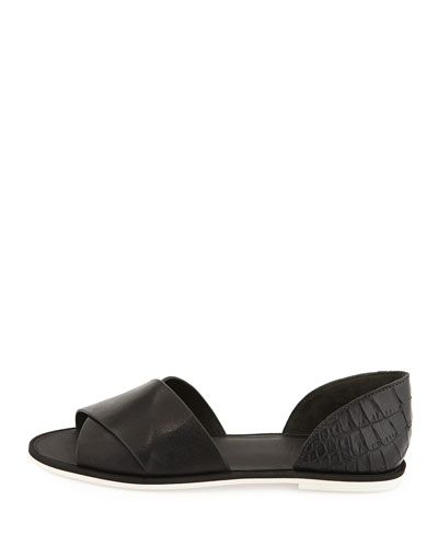 Womens Flats Vince Ida Open Toe Leather Flats Black Flats BLACK Outlet Shop