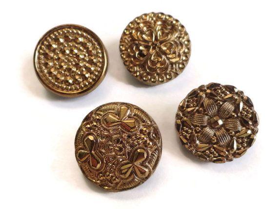 Stampe antiche di bottoni di vetro - 4 Vintage nero con lustro oro 3/4 di pollice 19mm per gioielli perline per cucire per maglieria