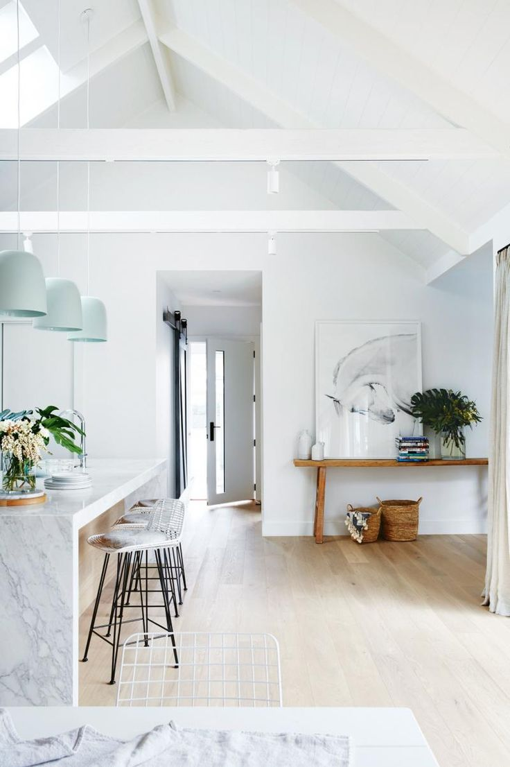 White marble + seafoam pendants in the kitchen/entrance | marble and white dining room | white and wood | Minimal home design | Minimal dining space