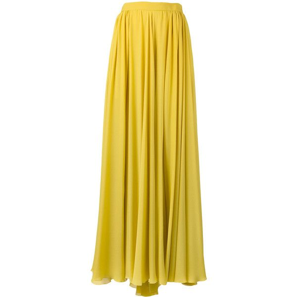 Elie Saab pleated slit maxi skirt ($1,785) ❤ liked on Polyvore featuring skirts, yellow, floor length skirts, silk skirt, pleated slit maxi skirt, yellow skirt and long pleated skirt