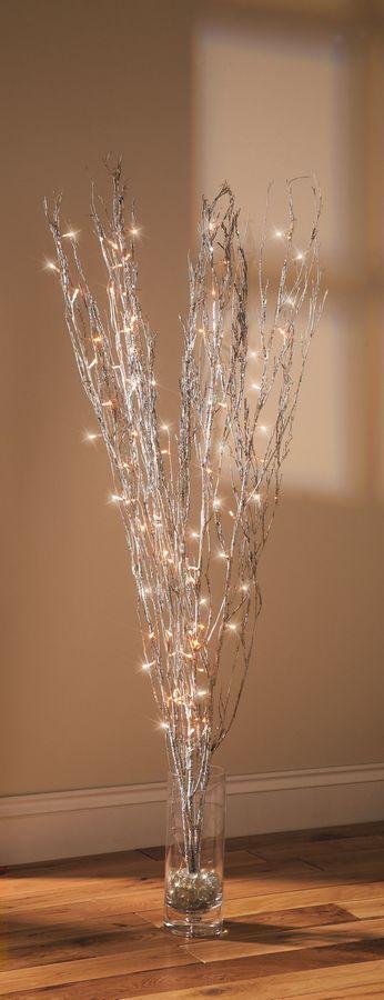 Linea 1.2m Silver Glitter branches