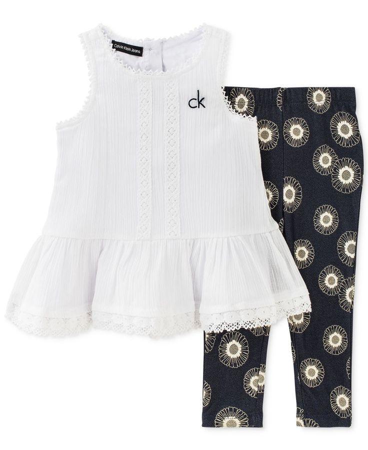 Calvin Klein Baby Girls' 2-Piece White Tunic & Geometric-Print Leggings Set