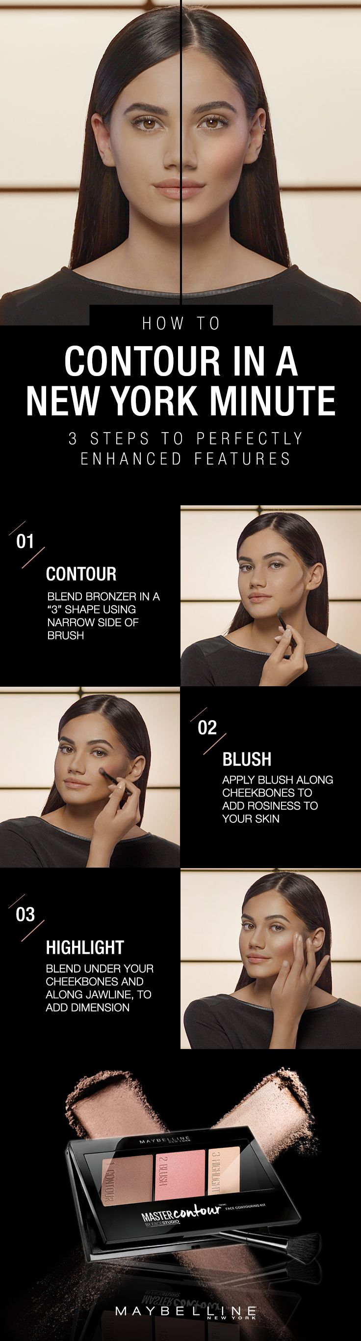 Contouring is not as scary as it looks! Take three easy steps to get a natural looking sculpted face with the new Master Contour palette.