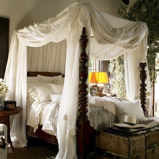 Ralph Lauren white bedding. I like white. I like canopy beds. I like this!