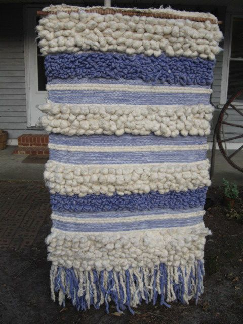 Vintage  60's Woven Wool Wall Hanging