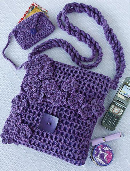 Filet crochet bag designed by Margaret Hubert with freeform embellishments. Free pattern.