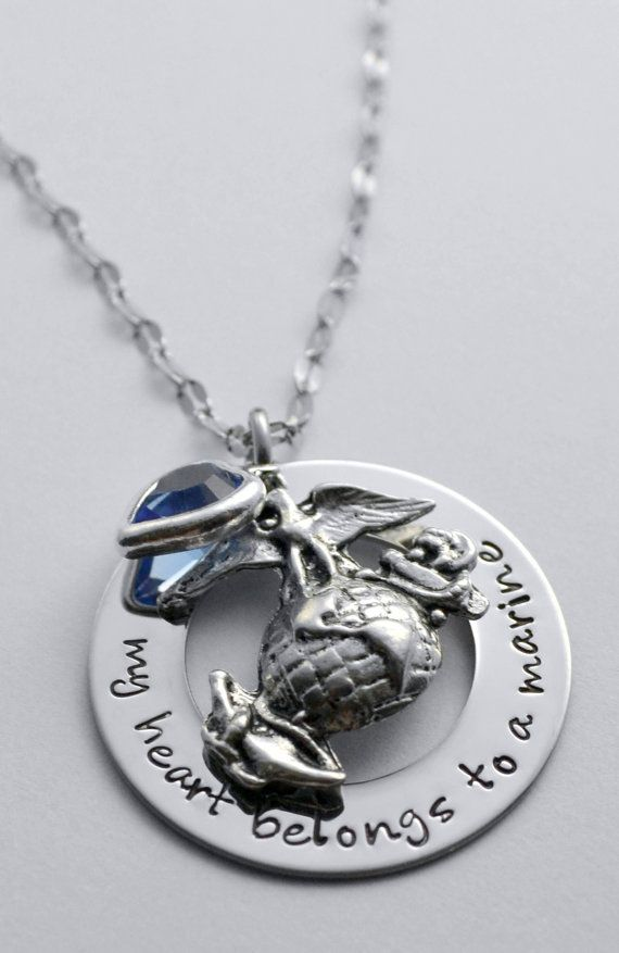 Marine necklace My heart belongs to a marine by LauriginalDesigns