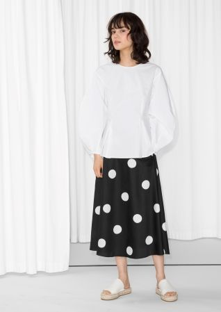 & Other Stories image 2 of Painted Dots A-Line Skirt in Black