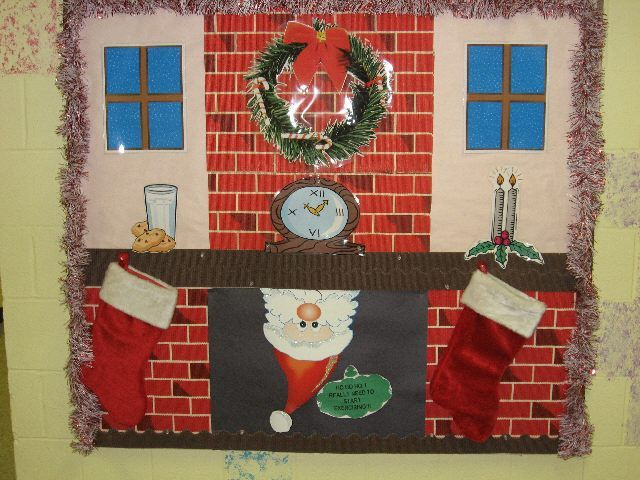 This Christmas bulletin board display of Santa peeking out from the chimney upside down is filled with lots of great details.  The teacher used the following supplies to create this Santa bulletin board:  brick paper, cut out Santa, stockings, garlin, and clip art.