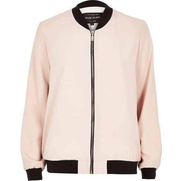 River Island Light pink bomber jacket (1.145 UYU) ❤ liked on Polyvore featuring outerwear, jackets, tops, coats & jackets, pink, coats / jackets, sale, women, pink jacket and woven bomber jacket