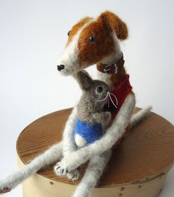 Needle felted Animal Felted   Greyhound with Little by MissBumbles, $80.00
