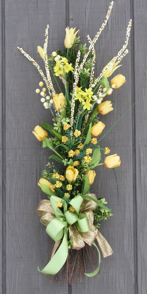 Spring wreath Tulip Bouquet Vertical Swag Door by SimpleJoysofLife, $52.00