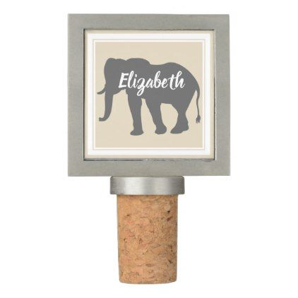 Bohemian Gray Elephant Silhouette & Double Frame Wine Stopper - script gifts template templates diy customize personalize special
