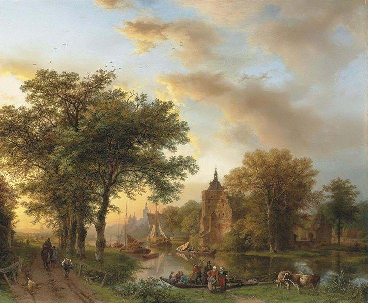 """A river landscape in Holland at sunset"" (1852) By Barend Cornelis Koekkoek (Dutch, 1803-1862) oil on canvas; 61 x 73.5 cm; 24 x 29 in © Sold through Christie's, London. June 12, 2012 for £217,250 - $335,869 19th Century European Art including Orientalist Art - Sale 5328 - Lot 30 http://www.christies.com/ https://www.facebook.com/Christies"