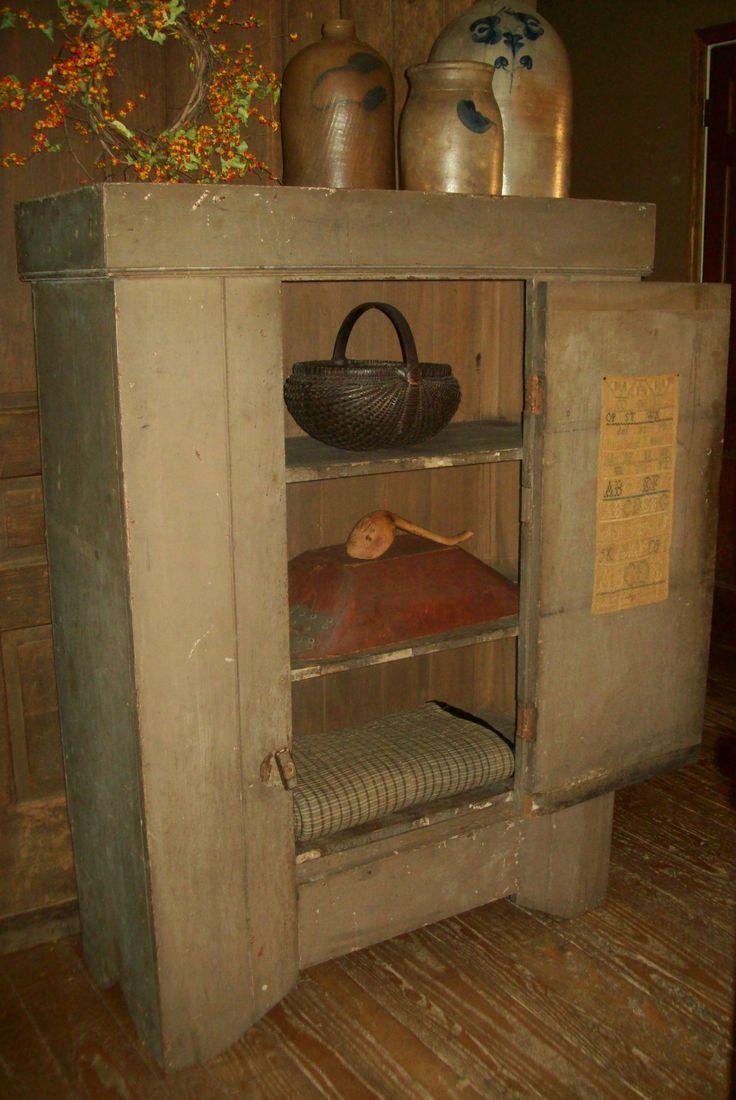 Primitive Cabinet With Salt Glazed Crocks U0026 Collectables.