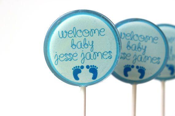 Baby Shower Favors, Its a Boy, Blue Lollipops, Hard Candy Lollipops, Candy Lollipop, Sweet Caroline Confections, SIX LOLLIPOPS