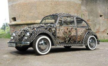 Volkswagen Beetle's bodywork replaced with ornate wroughtiron