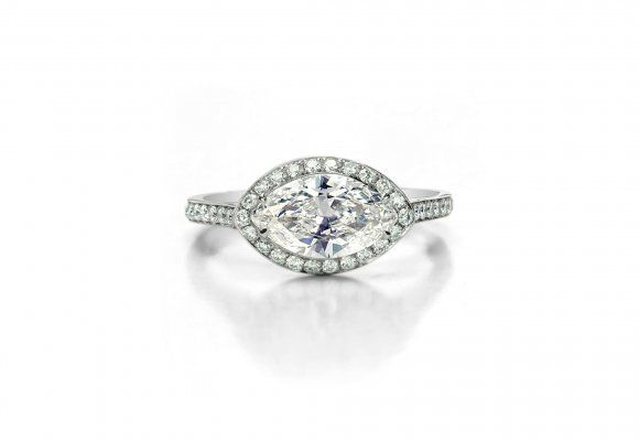 Marquise Halo Ring vintage feel forevermark