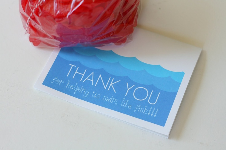 Great swim teacher gift for next year :) { swedish fish in a baggy and a cute card... }