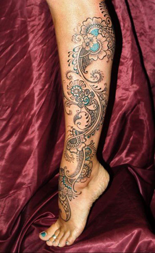 paisley tattoo on leg