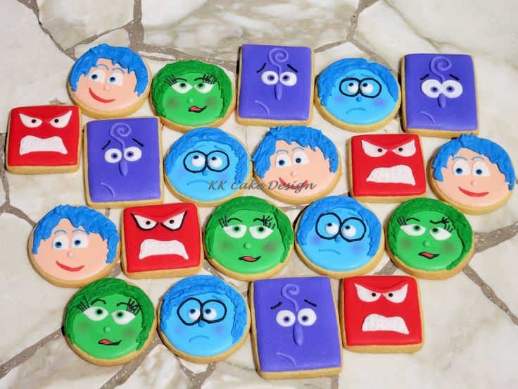 Vanilla sugar cookies hand decorated with royal icing. Inspired by the movie Inside Out.