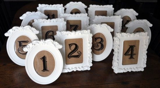 Table numbers DIY with frames from IKEA (could I spray these purple?)