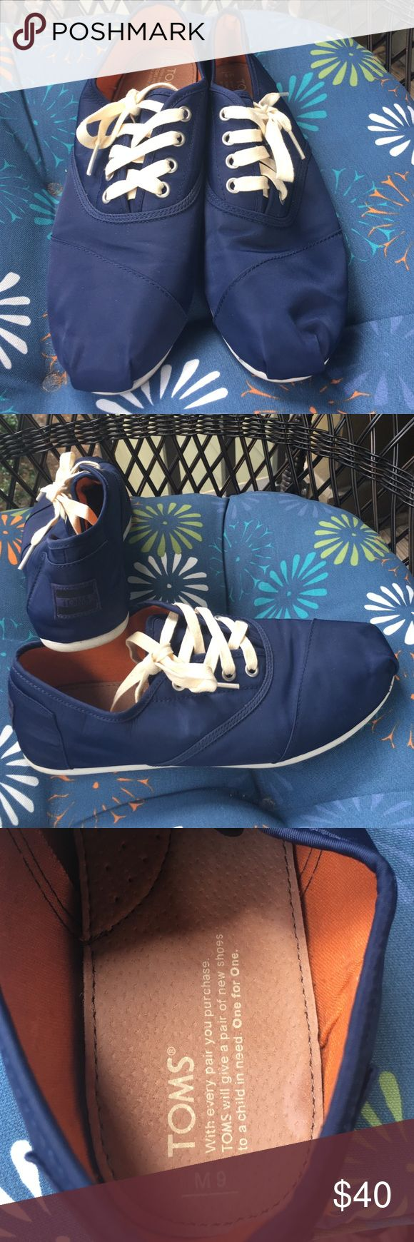 Men's Waterproof Toms Lace-Up Shoes Blue nylon Toms that are waterproof. Excellent for those rainy days. Very Comfortable. Worn twice. Like new condition. Toms Shoes Sneakers
