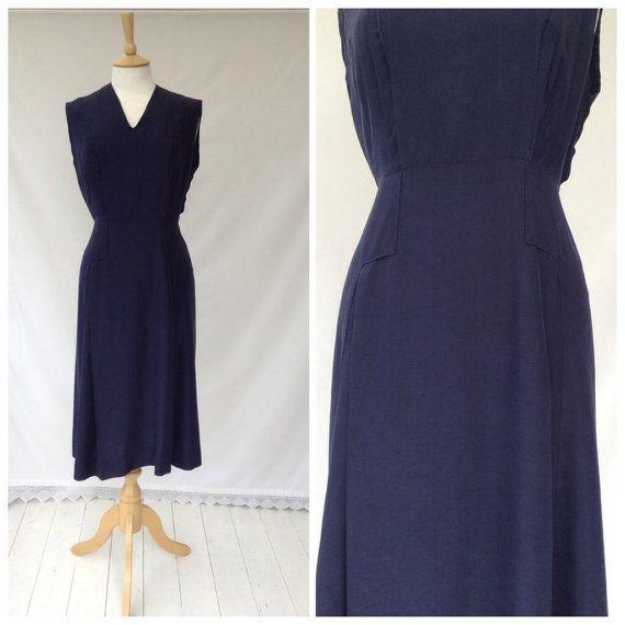 1940s Dress, Navy Blue, Smart, Day Dress, Formal, Silk , UK size 14, US size 12.