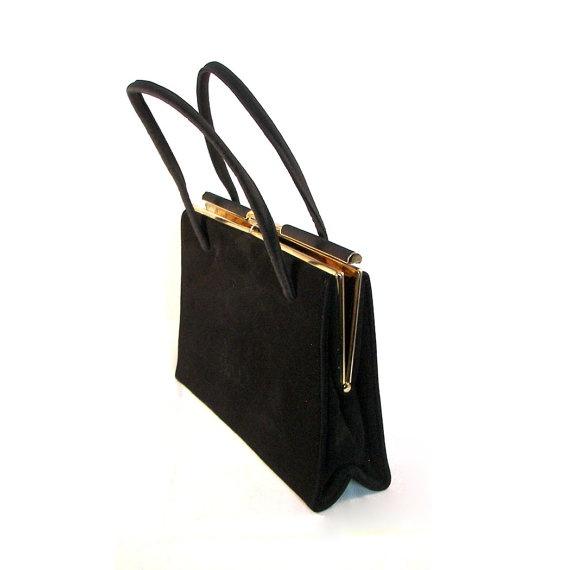 Vintage 1950's Black Suede and Gold Handbag Purse by CoriLuVintage, $28.00